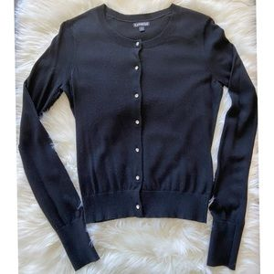 Express black rhinestone button cardigan